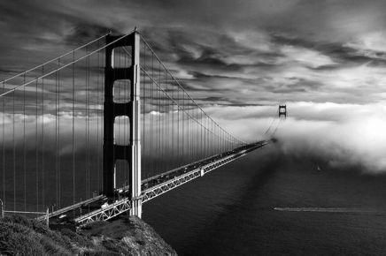 bridge uner clouds