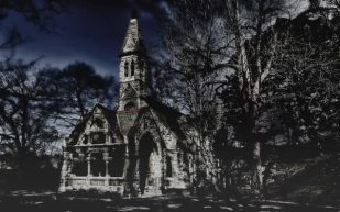 Haunted graveyard chapel